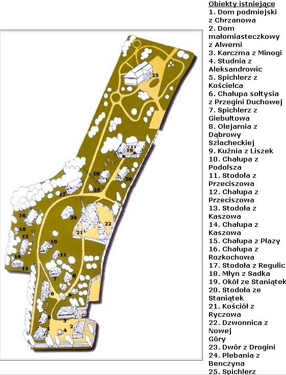 Plan skansenu Wygiełzów